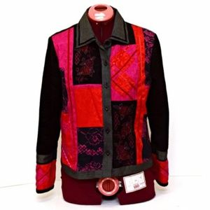 Napa Valley Womens Jacket Black Red Pink Floral✅